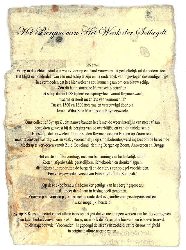 Flyer (het Bergen van) Het wrak der Sotheydt