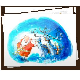 Kerstkaart - kerstman met eland