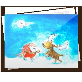 Kerstkaart - kerstman met eland 2