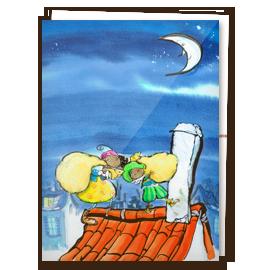 Kinderkaart - Zwarte Piet op dak